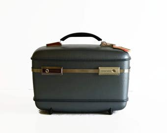 vintage steel blue gray train makeup case American Tourister suitcase luggage