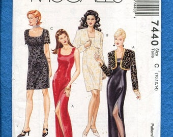 15% OFF SPRING SALE McCalls 7440 Sleek Fitted Evening Dresses & Bolero Size 10..12..14 Uncut