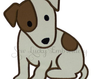 Jack Russell Terrier Applique  Embroidered Patch , Sew or Iron on
