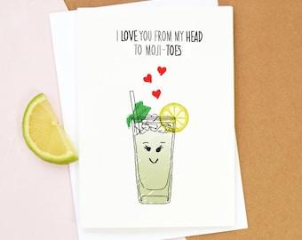 Mojito Valentine's Card, Birthday Card, Mojito, Cocktail, Anniversary Card, Boyfriend, Girlfriend, Valentines Day, Funny Valentines Card