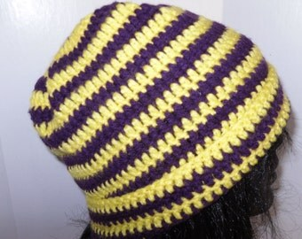 Crocheted winter hats in bright colors