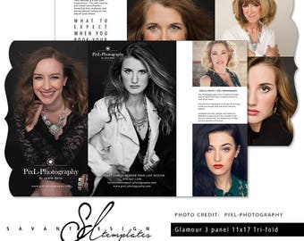 Photography Template, Glamour Luxe Trifold Photography Template, Marketing Brochure Template for Photographers, GM200, INSTANT DOWNLOAD