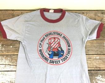 Vintage Canadian Train, Ringer T shirt, CP Rail Revelstoke, railway, grey and burgundy, size medium