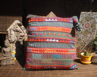 Vintage Textile Cushion Cover, Karen Hill Tribe Embroidered Textile , Pillow Cover, Tribal Textile Pillow Cover, Ethnic Cushion Cover