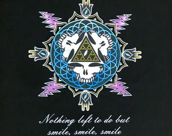 Mens-Smile, Smile, Smile-Bolts of Sierpinski Spring limited Edition tees- Grateful Dead inspired -Mongo Arts limited edition of 25