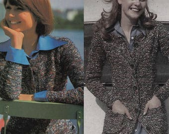 Vintage Knitting Long or Short Cardigan Pattern, 2 Different Versions,  Knitting PDF Pattern, Knitting Instant Download Speckled Yarns