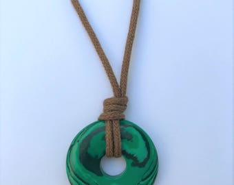 ORGANIC Nursing / Mama Necklace - Green Swirl Turquoise gemstone on Certified Organic Cotton (Adjustable) - 30 mm stone