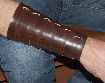 Leather wristband, bracer with 6 buckles