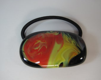 Fused Glass Ponytail Holder, Red, Yellow and Black Swirl