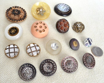 Assortment of 16 Decorative Vintage Buttons