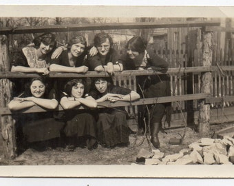 Pretty Edwardian Ladies Leaning On Fence Antique Photograph Vintage Fashion Photo Black And White Snapshot Victorian Woman