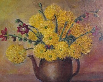 Delightful antique French original oil painting on canvas.  Signed.  Bouquet of flowers