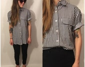 Vintage 90s Black and White Shirt Stripe Button Up Blouse Size Small / Medium