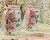Shabby Glass Canister jar, Craft Storage Jar with pink roses, Mason jar, Shabby Cottage chic, Kitchen, bathroom, Nursery, Vanity, fanny pipp