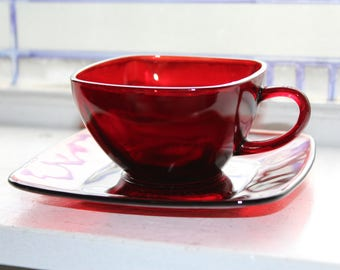 9 Royal Ruby Red Square Cup and Saucer Sets Vintage 1940s