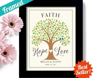 Faith Hope Love Personalized Wedding Gift Bible Verse Lovebirds Christian Wedding 1st Anniversary Wedding Tree Religious Wedding Framed Gift