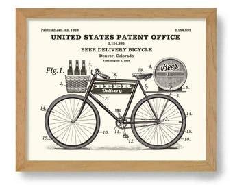 Vintage Patent Art Print Bicycle Art Beer Art Bicycle Poster Beer Keg Bicyclist Art Cycling Gift Beer Sign Beer Gift Bar Art Craft Beer