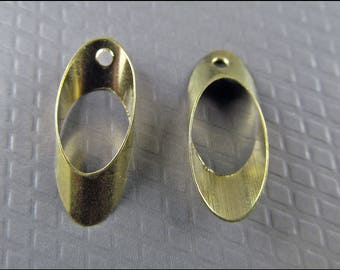 20 x Small ellipse with hole, brass, A19