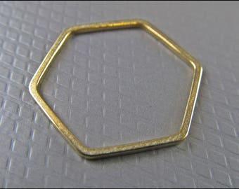 10 x pendant hexagon, golden brass, A24