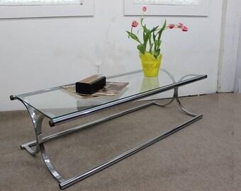Mid Century Modern, danish, retro, vintage tubular chrome and glass coffee table X base
