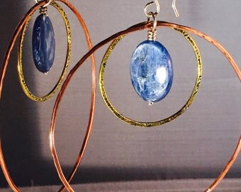 Large hoop earrings mixed metal jewelry hand forged kyanite hoops