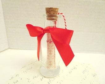 Romantic Message In A Jar of Heart  -leather  rose petals-  Gift - decor