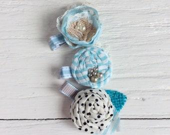 Blue Vintage hair clips rolled rosette hair clip girl hair clip baby hair clip matilda jane hair clips little girl gifts clips toddler hair