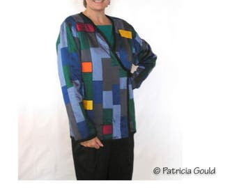 Ode to Mondrian jacket - One of a Kind Dupioni silk jacket