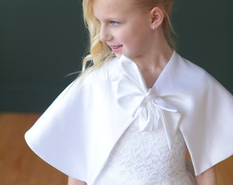 Flower girl and communion Duchess satin cape