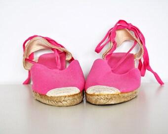 NOS Vintage Pink Wedge Heel Platform Espadrilles Size 10