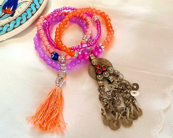 Morroccan style KUCHI bracelet with tassel , bohemian gypsy Princess bracelet , Bollywood dangle bracelet , belly dance KUCHI bracelet