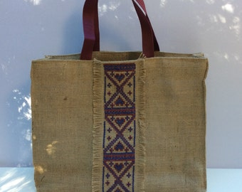 Boho handmade  beach bag , Burlap tote bag, hand cross stitched  with tribal pattern,ecofriendly environment, OOAK, Casual Tote Bag