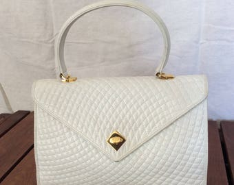 Vintage Genuine Bally Quilted White Leather Satchel Made in Italy