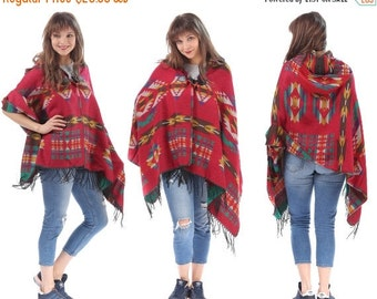 SALE RED Poncho Aztec Blanket Cape Navajo Wool Blend Fringe Shawl ETHNIC Cape Boho Red Green White Soft Handmade Bohemian One Size Gift Idea
