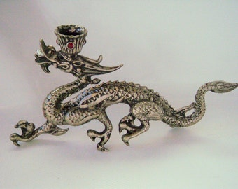 Vintage Metal Dragon Incense Burner Candle Holder Chinese Asian Zen Fantasy Statue Figure