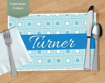 Squares -  Personalized Placemat, Customized Placemats, Custom Placemat, Personalized Gift
