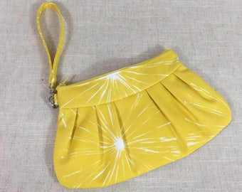 Yellow Clutch with Wrist Strap | Party Accessory | Spring Clutch | Dinner Clutch | Gift for Her | Clutch Purse | Pleated Canvas Wristlet