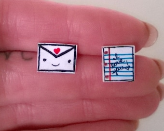 Envelope and Paper with I Love You Kawaii Mismatched Earrings Ooak Jewelry Studs Girl Teen Cute Heart