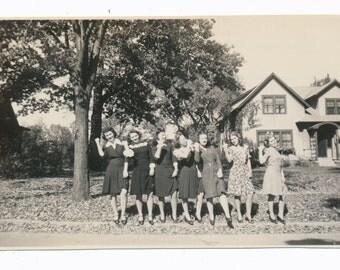 Hitchhike Girls Club 1940s womens fashion Social Realism Photography modern vernacular photos snapshot group portrait