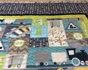 T is for Train Baby Boy Quilt, Newborn Blanket, Toddler Nap Quilt, Nursery Room Decor