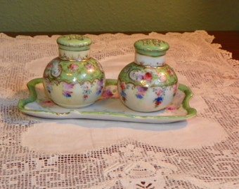 Antique Noritake Nippon CONDIMENT SET Tray Salt Pepper cobalt floral green pink Japan enamel porcelain Floral