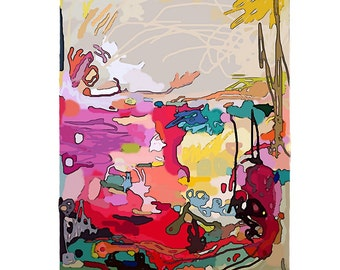 Large Original Abstract Art pretty vancouver artist melissa thorpe canadian office bright colourful colorful red purple yellow painting