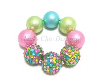 Toddler or Girls Chunky bracelet - Pastel Pink, Lime Green, Turquoise Chunky Bracelet - Spring Chunky Bracelet - Confetti Sparkle Bracelet