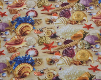 "Brand New Nautical Sea Shell Fabric 100% Cotton 36"" x 44"""