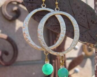 Boho Gypsy Gold Hoop Earrings with Green Onyx Stone Dangles