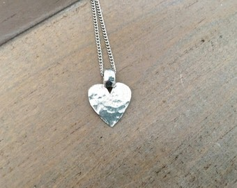 Silver Hammered Heart Necklace , pewter heart, boho valentine