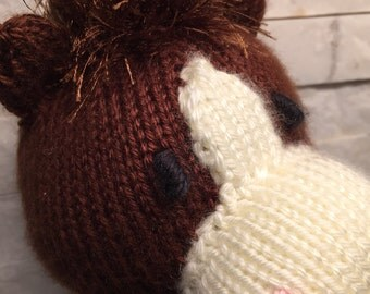 Knit horse puppet, knit hand puppet horse, knit glove puppet, knit puppet horse, plush horse toy puppet, glove puppet horse, horse hand knit