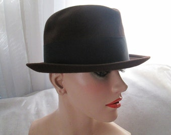 1960's Male Dark Brown Felt HAT With Black Band by WRIGHT