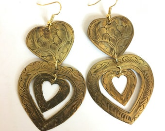 Vintage 70's Brass Heart Etched Dangle Earrings Gold Fill Wires