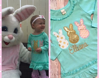 Girls Easter Bunny Dress - Easter Dress, personalized, applique, monogram, custom, gold and pink